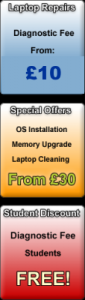 Special offers OS installation, memory upgrade, laptop cleaning